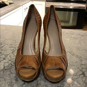 BCBG leather strappy heels